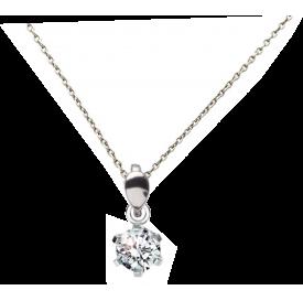 Collier Argent et cristal 6mm